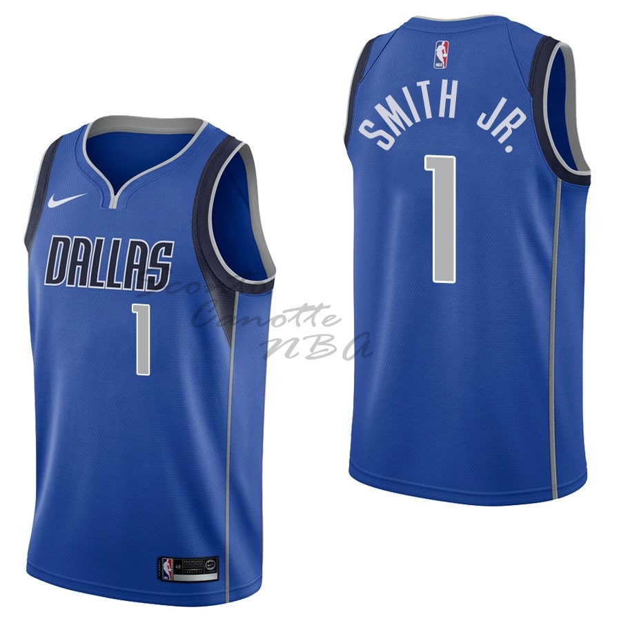 Vendita Nuove Maglia NBA Nike Dallas Mavericks NO.1 Dennis Smith Jr Blu Icon 2017-18