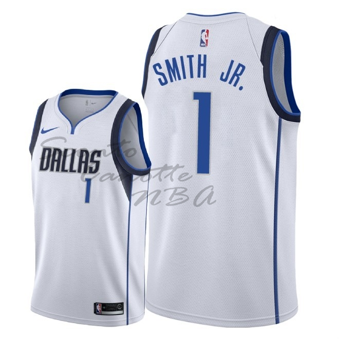 Vendita Nuove Maglia NBA Nike Dallas Mavericks NO.1 Dennis Smith Jr Bianco Association 2018