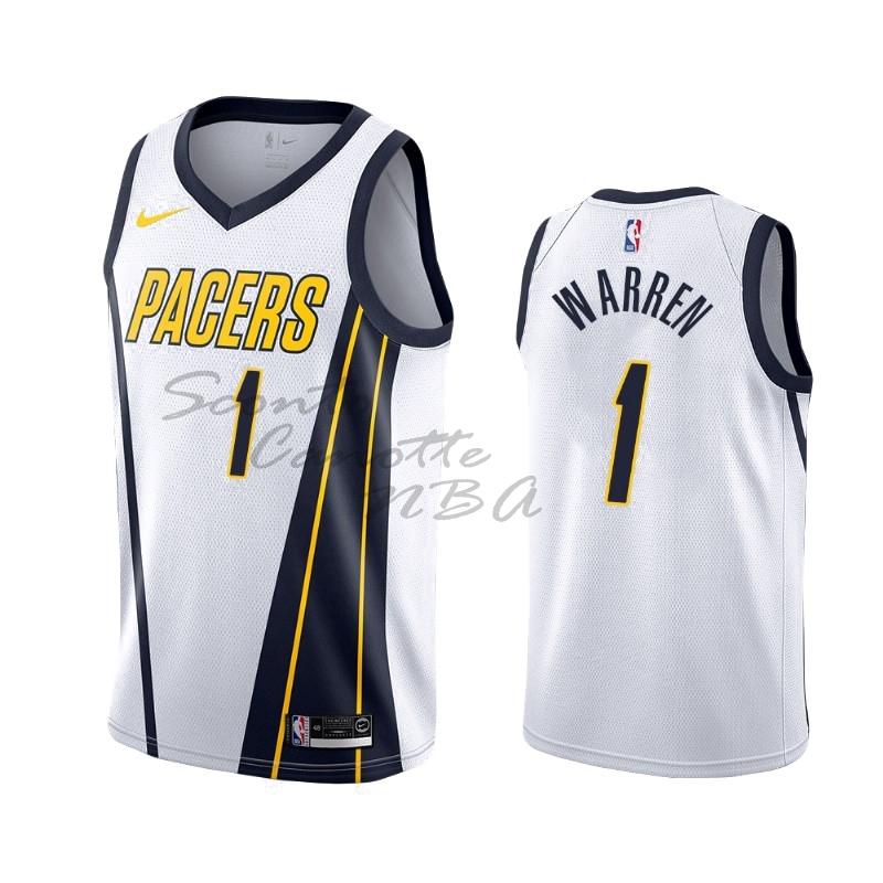 Vendita Nuove Maglia NBA Earned Edition Indiana Pacers NO.26 T.J. Warren Gray Bianco 2019-20