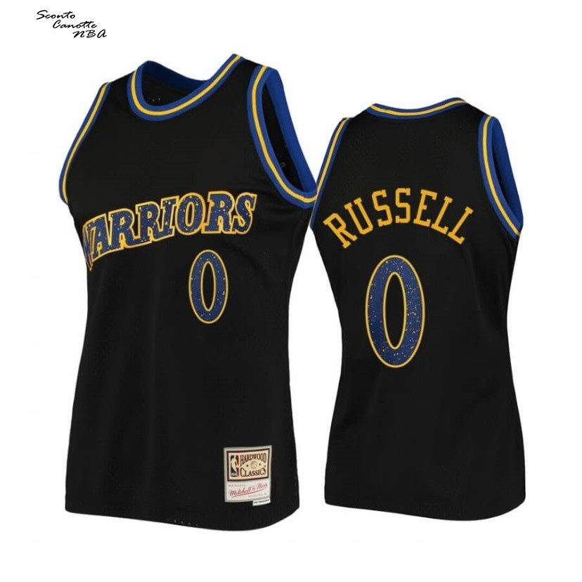 Vendita Nuove Maglia NBA Golden State Warriors NO.0 D'Angelo Russell Rings Collection Nero Hardwood Classics